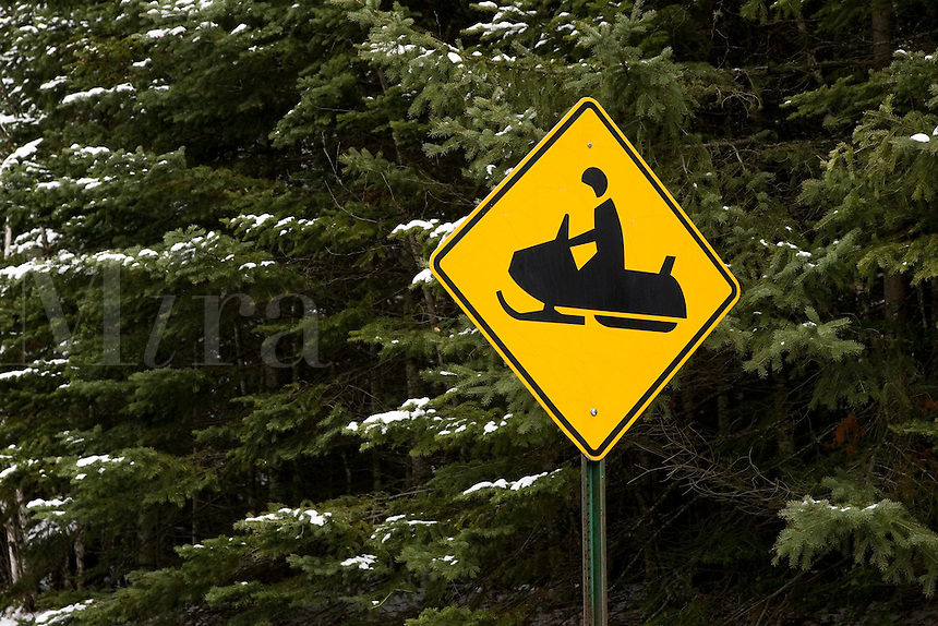 Snowmobile Crossing Sign