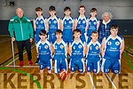 The Caherciveen U16 boys basketball team that played Kenmare in the U16 Division 2 Plate final in the Tralee Sports Complex on Sunday.<br /> Kneeling: Emmet Daly, Ben O'Donoghue, Brian Quinlan, Ronan Teahan and Ryan Sugrue.<br /> Standing: Coach Alan Browne, Sam O'Driscoll, Alex Coffey, Aaron Galvin, Brian Sullivan, Tómas Kelly and Margaret Browne.