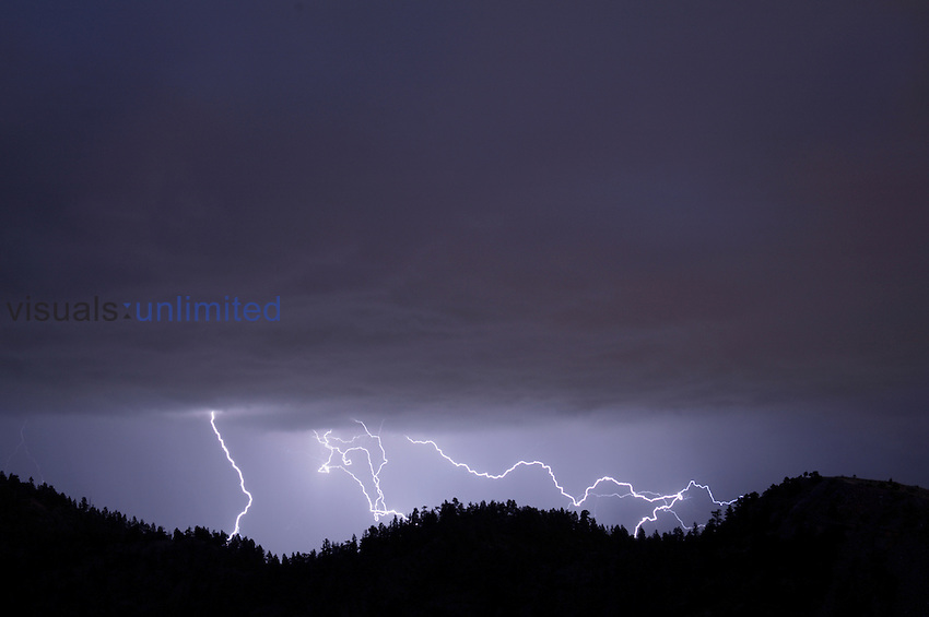 Multiple lightning strikes above Colorado's Front Range