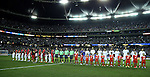 22 July 2015: A wide shot of the starting lineups and the sold out stadium. The Panama Men's National Team played the Mexico Men's National Team at the Georgia Dome in Atlanta, Georgia in a 2015 CONCACAF Gold Cup semifinal match. Mexico won the game 2-1 after extra time.