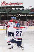 Joseph Pendenza (UML - 14), Zack Kamrass (UML - 27) - The Northeastern University Huskies defeated the University of Massachusetts Lowell River Hawks 4-1 (EN) on Saturday, January 11, 2014, at Fenway Park in Boston, Massachusetts.