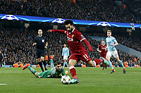 Liverpool's Mohamed Salah scores his side's equalising goal to make the score 1 - 1<br /> <br /> Photographer Rich Linley/CameraSport<br /> <br /> UEFA Champions League Quarter-Final Second Leg - Manchester City v Liverpool - Tuesday 10th April 2018 - The Etihad - Manchester<br />  <br /> World Copyright &copy; 2017 CameraSport. All rights reserved. 43 Linden Ave. Countesthorpe. Leicester. England. LE8 5PG - Tel: +44 (0) 116 277 4147 - admin@camerasport.com - www.camerasport.com