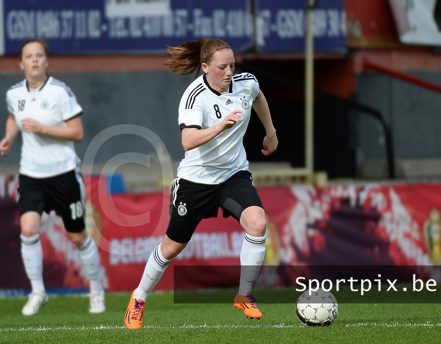20140407 - BRUSSELS , BELGIUM : German Jenny Gaugigl pictured during the female soccer match between GERMANY U19 and UKRAINE U19 , in the second game of the Elite round in group 4 in the UEFA European Women's Under 19 competition 2014 in the Edmond Machtens Stadion , Monday 7 April 2014 in Brussels . PHOTO DAVID CATRY