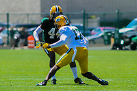 Green Bay Packers cornerback Donatello Brown (44) and wide receiver Davante Adams (17) during a training camp practice on August 7, 2017 at Ray Nitschke Field in Green Bay, Wisconsin.  (Brad Krause/Krause Sports Photography)