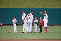 Tommy Pham, Harrison Bader, and Todd Cunningham sign autographs for young fans before a Memphis Redbirds game against the Round Rock Express on April 28, 2017 at AutoZone Park in Memphis, Tennessee.  Memphis defeated Round Rock 9-1.  (Mike Janes/Four Seam Images)