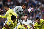 Real Madrid's Raphael Varane and Villarreal's Bruno Soriano during the match of La Liga between Real Madrid  and Villarreal Club de Futbol at Santiago Bernabeu Estadium in Madrid. September 21, 2016. (ALTERPHOTOS/Rodrigo Jimenez)