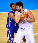 French national basketball team player Batum Nicolas and Marc Gasol during final Eurobasket 2011 game between Spain and France in Kaunas, Lithuania, Sunday, September 18, 2011. (photo: Pedja Milosavljevic)