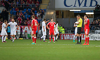 Gareth Bale of Wales and his team-mates look dejected after conceding their side's first goal during the FIFA World Cup Qualifier match between Wales and Georgia at the Cardiff City Stadium, Cardiff, Wales on 9 October 2016. Photo by Mark  Hawkins / PRiME Media Images.