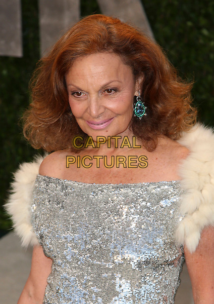 Diane von Furstenberg.2013 Vanity Fair Oscar Party following the 85th Academy Awards held at the Sunset Tower Hotel, West Hollywood, California, USA..February 24th, 2013.oscars headshot portrait  white fur silver sequins sequined .CAP/ADM/SLP/DOW.©Dowling/StarlitePics/AdMedia/Capital Pictures
