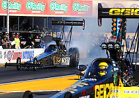 Jul. 25, 2014; Sonoma, CA, USA; NHRA top fuel driver Khalid Albalooshi during qualifying for the Sonoma Nationals at Sonoma Raceway. Mandatory Credit: Mark J. Rebilas-