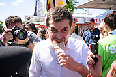 2020 Democratic Presidential Hopeful Peter Buttigieg tours the Iowa State Fair in Des Moines, Iowa on August 13, 2019. Credit: Alex Edelman / CNP