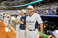"""7 March 2012:  FIU Head Coach Henry """"Turtle"""" Thomas waits for the game to begin.  The Miami Marlins defeated the FIU Golden Panthers, 5-1, at Marlins Park in Miami, Florida."""