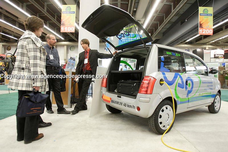 Montreal (QC) CANADA, March 16 to 19 2009 - Quebec made ZENN (Zero Emission No Noise) electrical car at<br />  AMERICANA 2009 trade show on waste management, ecology and sustainable development