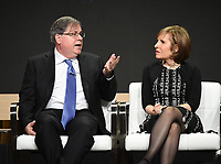 """BEVERLY HILLS - AUGUST 1: Executive Producers Robert King and Michelle King onstage during the """"Evil"""" panel at the CBS portion of the Summer 2019 TCA Press Tour at the Beverly Hilton on August 1, 2019 in Los Angeles, California. (Photo by Frank Micelotta/PictureGroup)"""