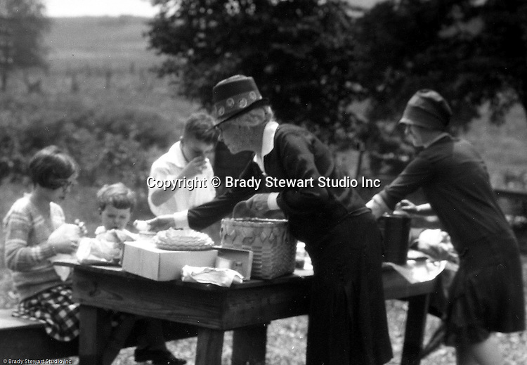East Brady PA:  Stewart family stopping for lunch near Meadville PA during a day trip - 1927.  Having lunch before traveling up to Lake Erie for a family vacation