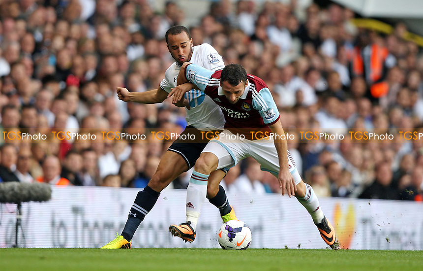 Andros Townsend of Spurs and Razvan Rat of West Ham - Tottenham Hotspur vs West Ham United, Barclays Premier League at White Hart Lane, Tottenham - 06/10/13 - MANDATORY CREDIT: Rob Newell/TGSPHOTO - Self billing applies where appropriate - 0845 094 6026 - contact@tgsphoto.co.uk - NO UNPAID USE