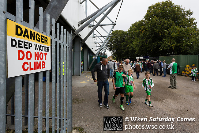 Yeovil Town 0 Queens Park Rangers 1, 21/09/2013. Huish Park, Championship. Danger sign outside The Thatchers Gold stand. Photo by Paul Thompson.