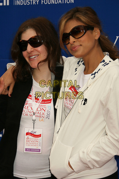 ELIZABETH CRYSTAL & EVA MENDES.14th Annual Entertainment Industry Foundation Revlon Run/Walk For Women held at The Los Angeles Memorial Coliseum, Los Angeles, California, USA,.12 May 2007..half length white hoodie top .CAP/ADM/RE.©Russ Elliot/AdMedia/Capital Pictures.