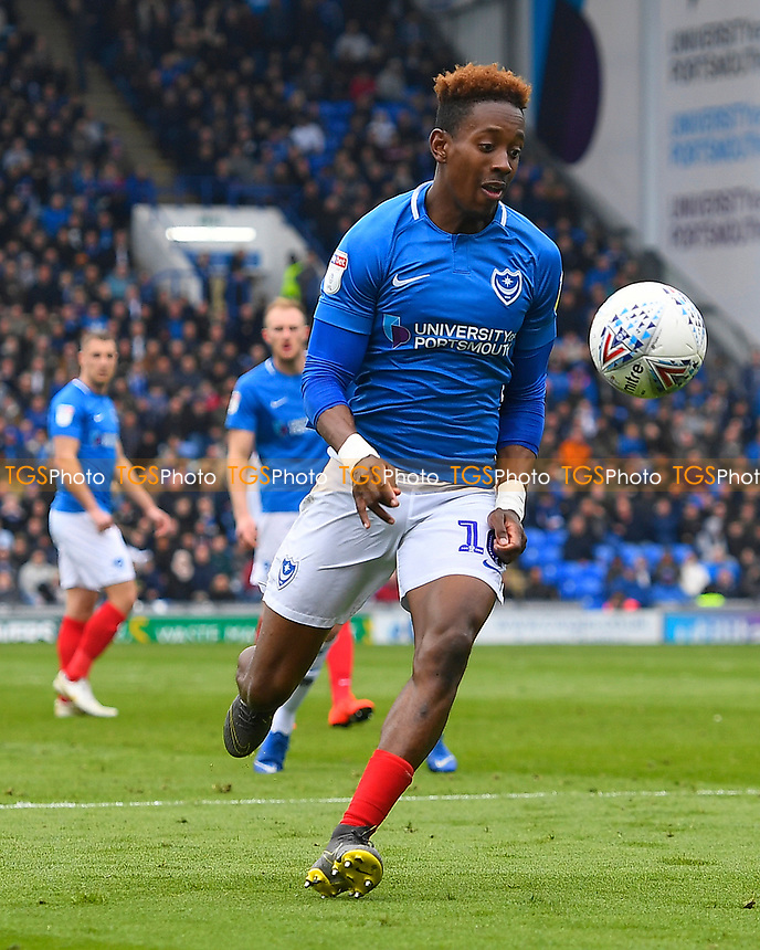 Jamal Lowe of Portsmouth during Portsmouth vs Rochdale, Sky Bet EFL League 1 Football at Fratton Park on 13th April 2019