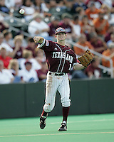 Texas A&M 3B Dane Carter throws against Texas on May 16th, 2008 in Austin Texas. Photo by Andrew Woolley / Four Seam images.