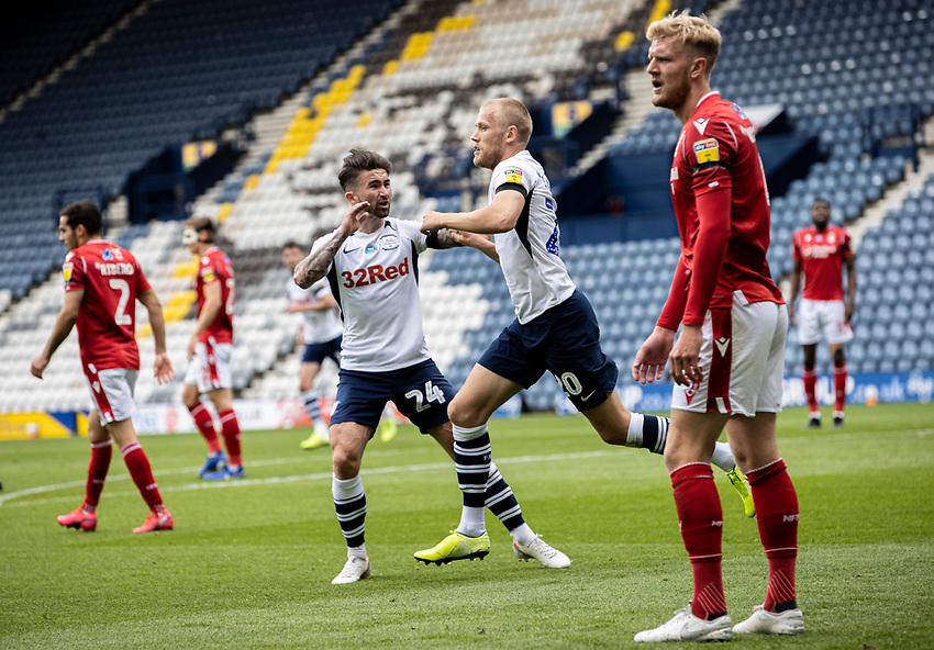 Preston North End's Jayden Stockley (2nd right) celebrates scoring his side's first goal with team mate Sean Maguire <br /> <br /> Photographer Andrew Kearns/CameraSport<br /> <br /> The EFL Sky Bet Championship - Preston North End v Nottingham Forest - Saturday 11th July 2020 - Deepdale Stadium - Preston <br /> <br /> World Copyright © 2020 CameraSport. All rights reserved. 43 Linden Ave. Countesthorpe. Leicester. England. LE8 5PG - Tel: +44 (0) 116 277 4147 - admin@camerasport.com - www.camerasport.com