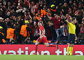5th December 2017, Stamford Bridge, London, England; UEFA Champions League football, Chelsea versus Atletico Madrid; Saul Niguez of Atletico Madrid celebrates after scoring his sides 1st goal with a header on the back post in the 55th minute to make it 0-1