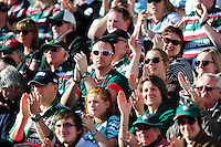 Leicester Tigers supporters celebrate a try. Aviva Premiership match, between Leicester Tigers and Gloucester Rugby on April 2, 2016 at Welford Road in Leicester, England. Photo by: Patrick Khachfe / JMP