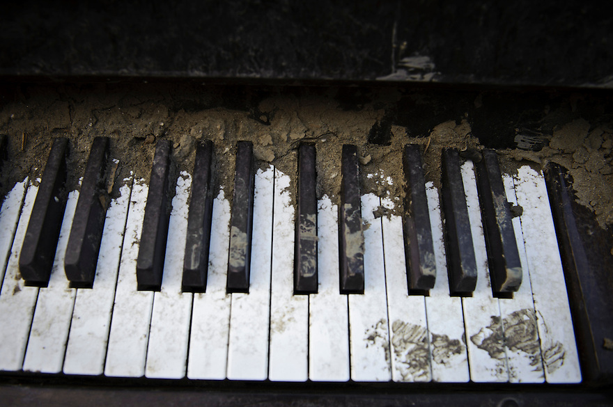 A piano amidst debris from the March 11 tsunami, Ishinomaki, Miyagi Prefecture, Japan, May 5, 2011. Almost two months after the devastating earthquake and tsunami the reconstruction has barely begun.