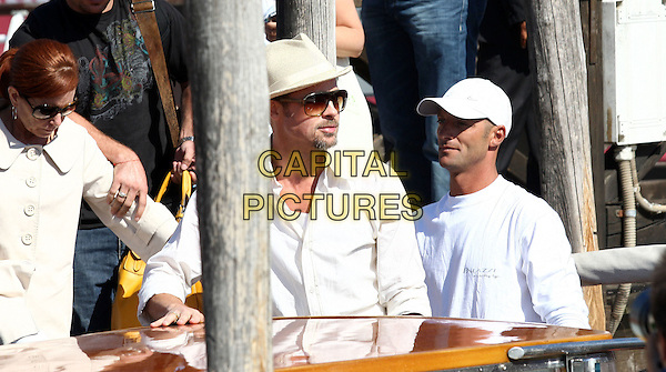 BRAD PITT .Arriving by boat to the 65th Annual Venice Film Festival held in Venice, .Italy, 26 August 2008..half length hat sunglasses  white shirt beard .CAP/ADM/LIV.©Luca Ghidoni/Liverani/Admedia/Capital Pictures