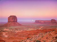 Moonrise over Monument Valley as seen from the visitors center. Arizona.