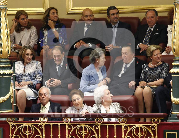 Coronation ceremony in Madrid. Margarita de Borbón y Borbón-Dos Sicilias and Pilar de Borbón y Borbón-Dos Sicilias Members of Royal Family of Spain and politics members at the Congreso de los Diputados. June 19 ,2014. (ALTERPHOTOS/EFE/Pool)