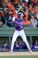 Designated hitter Tyler Krieger (3) of the Clemson Tigers bats in the Reedy River Rivalry game against the South Carolina Gamecocks on Saturday, February 28, 2015, at Fluor Field at the West End in Greenville, South Carolina. South Carolina won, 4-1. (Tom Priddy/Four Seam Images)