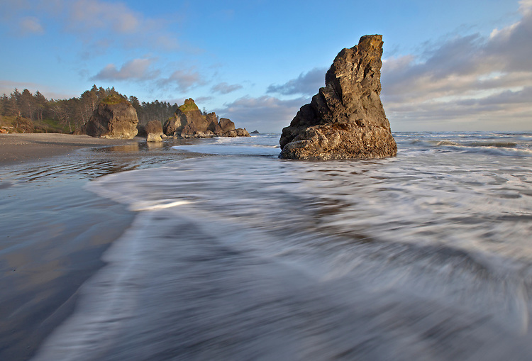 Waves weave around sea stacks at Ruby Beach in Olympic National Park, Washington, USA