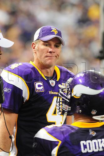 26 Sept 2010: Minnesota Vikings quarterback Brett Favre against the Detroit Lions at Mall of America Field in Minneapolis, Minn. The Vikings beat the Lions, 24-10..