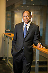 Dr. Eugene Washington, new Chancellor of Health Affairs/President and CEO of DUHS, relaxes at the Mary Duke Biddle Trent Semans Center for Health Education after his welcome reception, Fri. Jan. 23, 2015.