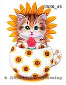 Kayomi, CUTE ANIMALS, paintings, CupKittySunflower_M, USKH46,#AC# stickers illustrations, pinturas ,everyday