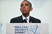 United States President Barack Obama pauses while speaking during a news conference at the Nuclear Security Summit in Washington, D.C., U.S., on Friday, April 1, 2016. After a spate of terrorist attacks from Europe to Africa, Obama is rallying international support during the summit for an effort to keep Islamic State and similar groups from obtaining nuclear material and other weapons of mass destruction. <br /> Credit: Andrew Harrer / Pool via CNP