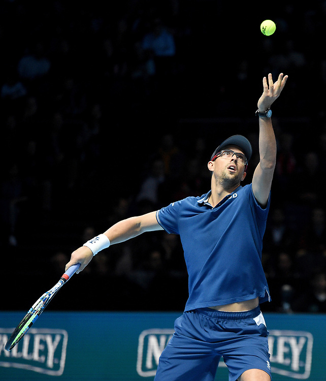 Mike Bryan in action against Marcelo Melo and Lukaz Kubot<br /> <br /> Photographer Hannah Fountain/CameraSport<br /> <br /> International Tennis - Nitto ATP World Tour Finals Day 2 - O2 Arena - London - Monday 12th November 2018<br /> <br /> World Copyright © 2018 CameraSport. All rights reserved. 43 Linden Ave. Countesthorpe. Leicester. England. LE8 5PG - Tel: +44 (0) 116 277 4147 - admin@camerasport.com - www.camerasport.com