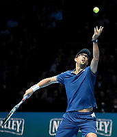 Mike Bryan in action against Marcelo Melo and Lukaz Kubot<br /> <br /> Photographer Hannah Fountain/CameraSport<br /> <br /> International Tennis - Nitto ATP World Tour Finals Day 2 - O2 Arena - London - Monday 12th November 2018<br /> <br /> World Copyright &copy; 2018 CameraSport. All rights reserved. 43 Linden Ave. Countesthorpe. Leicester. England. LE8 5PG - Tel: +44 (0) 116 277 4147 - admin@camerasport.com - www.camerasport.com
