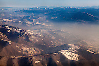 The mountains close to Sarajevo seen from an aeroplane shortly after leaving Sarajevo International Airport.