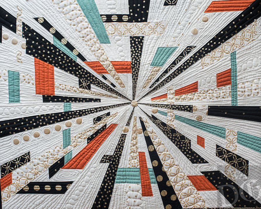 NWA Democrat-Gazette/ANTHONY REYES @NWATONYR<br /> This quilt was made by Natalie McCrory of Rogers.  It is called &quot;Another Time, Another Place&quot; and was the 1st Place quilt in the Large Pieced Wall Hanging category. <br /> A modern design on a small quilt Monday, April 3, 2017 at the Shiloh Museum in Springdale.