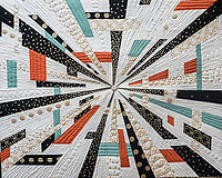 "NWA Democrat-Gazette/ANTHONY REYES @NWATONYR<br /> This quilt was made by Natalie McCrory of Rogers.  It is called ""Another Time, Another Place"" and was the 1st Place quilt in the Large Pieced Wall Hanging category. <br /> A modern design on a small quilt Monday, April 3, 2017 at the Shiloh Museum in Springdale."