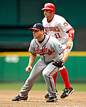 17 May 2007: Atlanta Braves first baseman Scott Thorman holds baserunner Ryan Zimmerman (11) at first base during a game against the Washington Nationals at RFK Stadium in Washington, DC. The Nationals defeated the Braves 4-3 to take the four-game series three games to one...Mandatory Photo Credit: Ed Wolfstein Photo