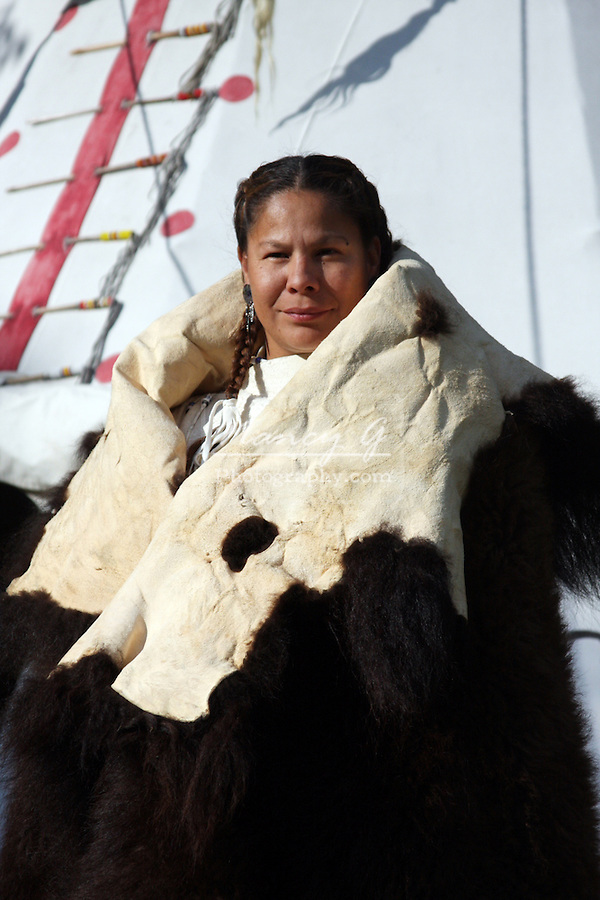 Native American Indian woman standing tipi buffalo hide blanket female fur robe Lakota Sioux