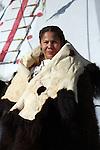 Native American Indian woman standing tipi buffalo hide blanket female fur robe Lakota Sioux
