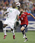 15 July 2007: Nigeria's Solomon Owello (10) looks to control the ball in front of Chile's Carlos Carmona (15). Chile's Under-20 Men's National Team defeated Nigeria's Under-20 Men's National Team 4-0 after extra time in a  quarterfinal match at Olympic Stadium in Montreal, Quebec, Canada during the FIFA U-20 World Cup Canada 2007 tournament.
