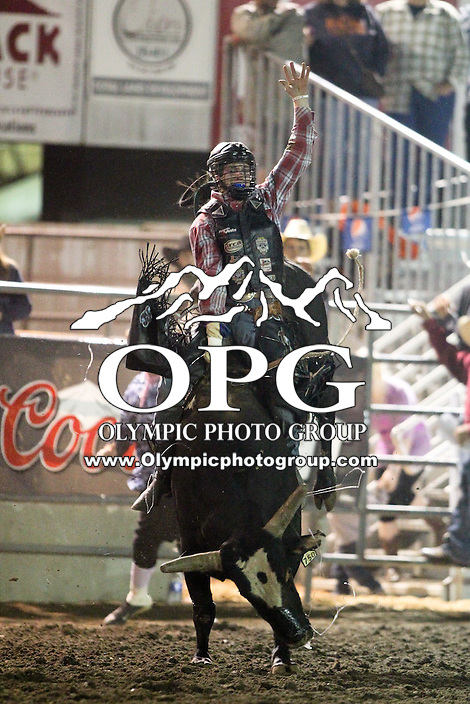 20 Aug 2014:  Riker Carter scored a 83 in the finals of the Seminole Hard Rock Extreme Bulls competition at the Kitsap County Stampede in Bremerton, Washington.