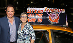 Kevin McCollum and Robyn Goodman taking the 'Avenue Q' - 15th Anniversary Performance Taxi Cab at New World Stages on July 31, 2018 in New York City.