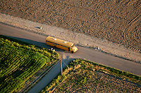 School bus on rural route. Pueblo County, Colorado. August 2011