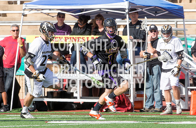 San Diego, CA 05/25/13 - Jack Pope (Westview #22) and Robert Sweeney  (Carlsbad #11) in action during the 2013 Boys Lacrosse San Diego CIF DIvision 1 Championship game.  Westview defeated Carlsbad 8-3.